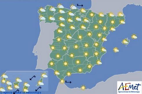 Hoy en España, temperaturas altas en el nordeste y tormentas en Asturias y Galicia