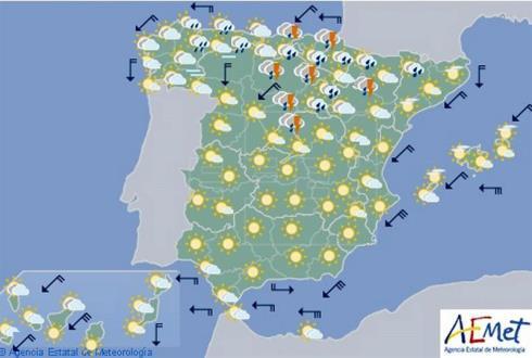 Hoy en España, tormentas fuertes en puntos del norte y temperaturas al alza