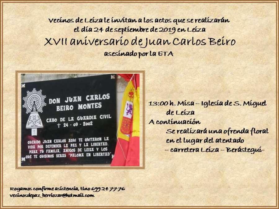 XVII Aniversario de Juan Carlos Beiro asesinado por ETA en Leiza (Navarra)