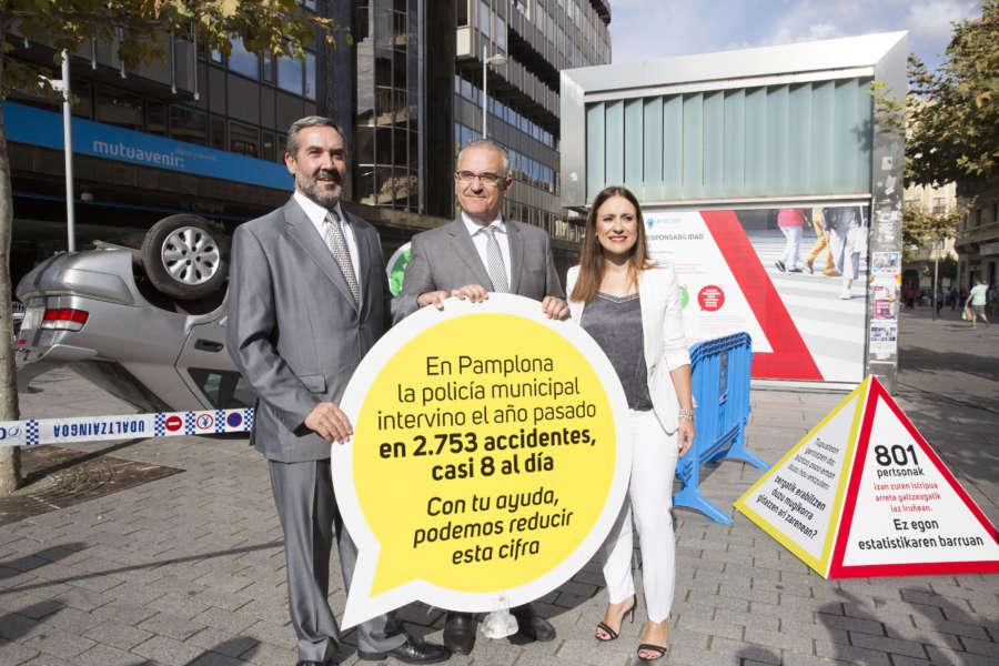 Pamplona recrea accidentes de tráfico para concienciar sobre siniestralidad