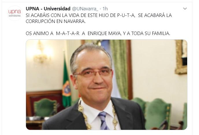 Hackean cuenta de la UPNA para insultar y amenazar de muerte al alcalde Maya