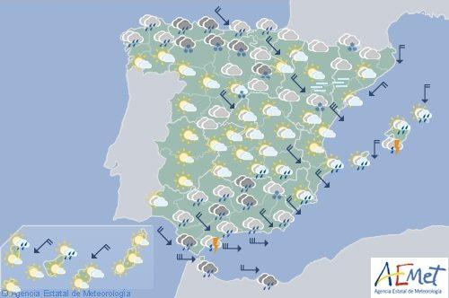El tiempo hoy lunes en España