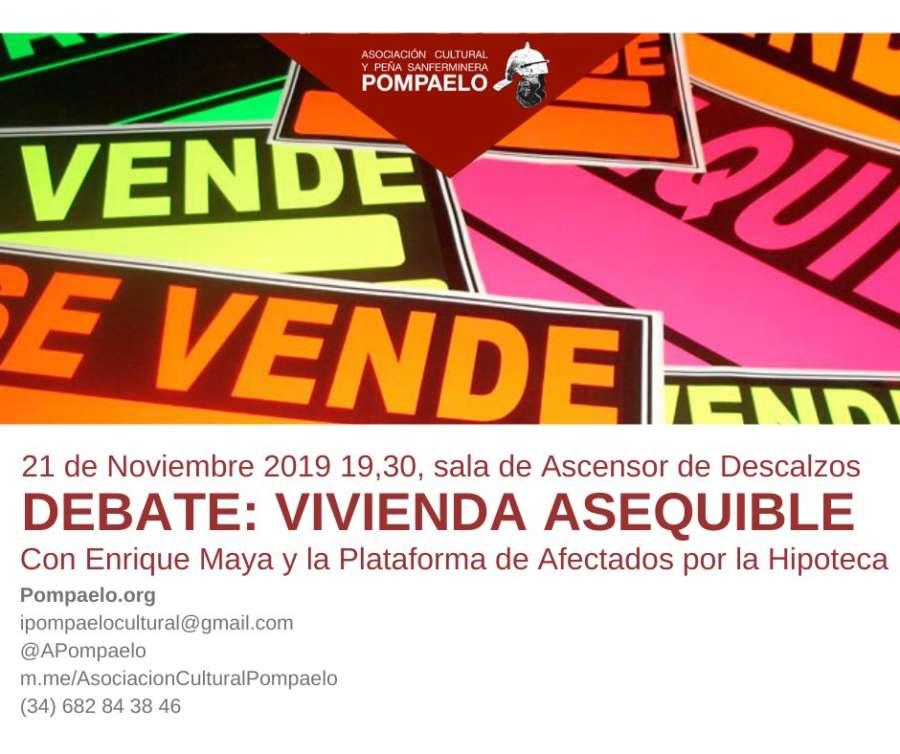 """AGENDA: 21 de noviembre, en Sala de Ascensor Descalzos, debate """"Vivienda asequible"""""""