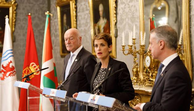 Chivite traspasa a Urkullu la presidencia de la euroregión Aquitania, Esuskadi, Navarra