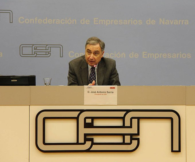 Sarría deja la presidencia de la Confederación de Empresarios de Navarra tras diez años de trabajo