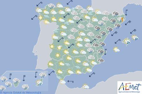 El tiempo hoy jueves en España