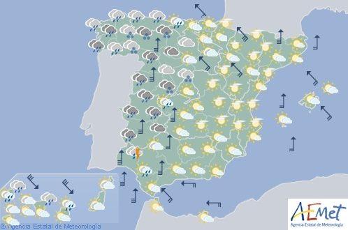 El tiempo para hoy lunes en España