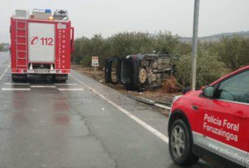 Dos heridos en una salida de vía en la N-122 a la altura de Lerín
