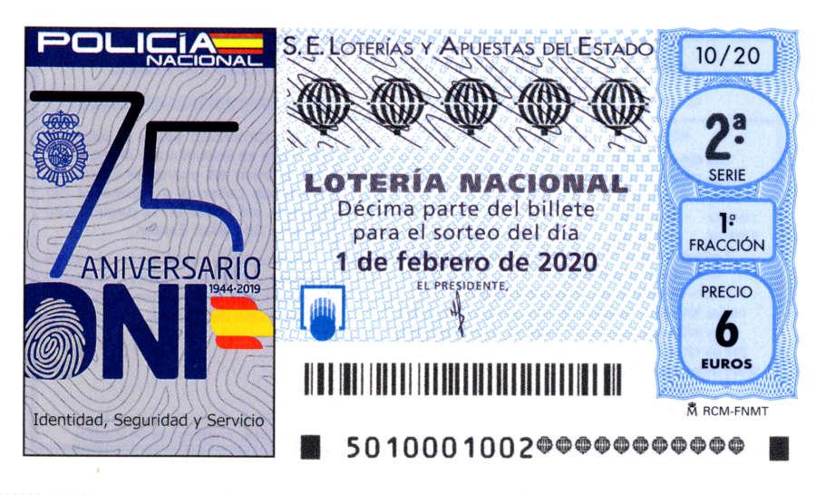 Un décimo de la Lotería conmemora el 75 aniversario del DNI