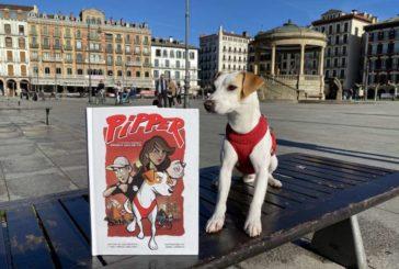 Pipper, el perro 'influencer', presenta en Pamplona su cómic de aventuras