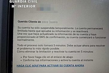 La Guardia Civil alerta de envíos de SMS suplantando la identidad de un banco