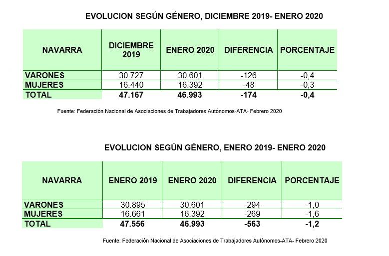 Navarra pierde 563 autónomos en un año y enero de 2020 se cierra con 174 menos