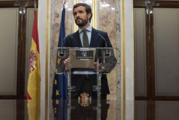 """Casado exige a Sánchez que comparezca urgentemente en el Congreso, rechace cualquier cesión y se levante """"de la mesa de despiece de la soberanía nacional"""""""