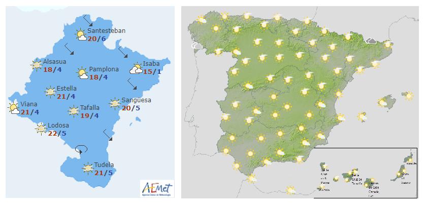 El tiempo hoy martes en Navarra