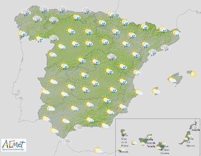 La Aemet alerta de temporal de lluvia y nieve a partir del domingo