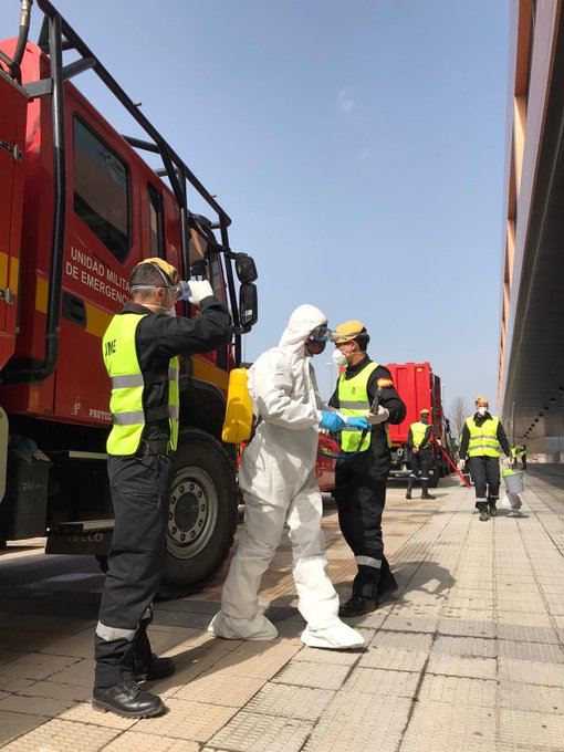 La UME continúa este jueves con la desinfección de edificios de toda Navarra