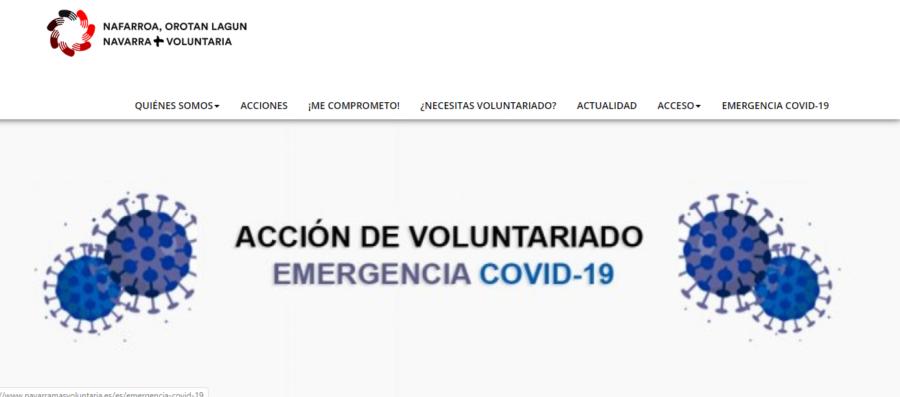 La web 'Navarra + Voluntaria' coordina al voluntariado en la emergencia del coronavirus