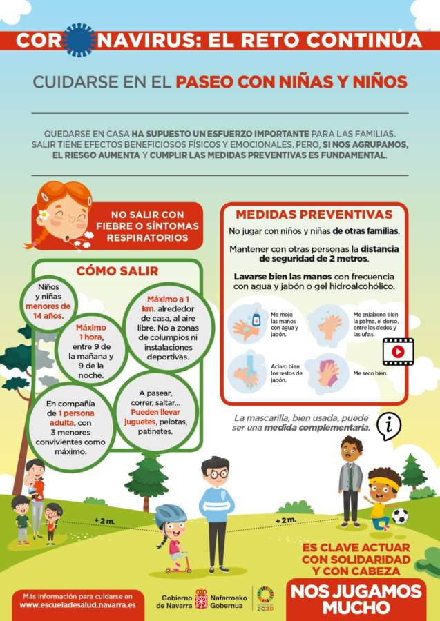 Coronavirus: Más de 100.000 menores de 14 años podrán salir a la calle en Navarra a partir del domingo