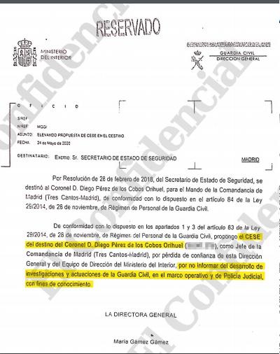 El coronel De los Cobos recurrirá su destitución por negarse a filtrar a Marlaska las diligencias judiciales sobre el 8-M