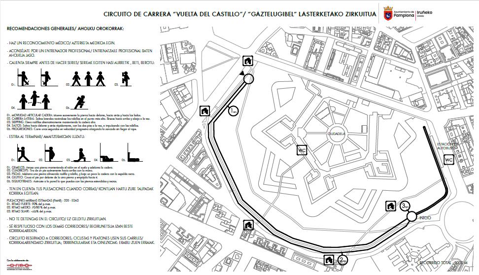 Pamplona estrena el circuito de running de la Vuelta del Castillo, que llevará el nombre de Patxi Morentin