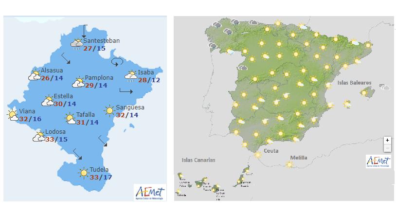 El tiempo hoy sábado en alerta naranja en el centro y amarilla en Pirineo de Navarra