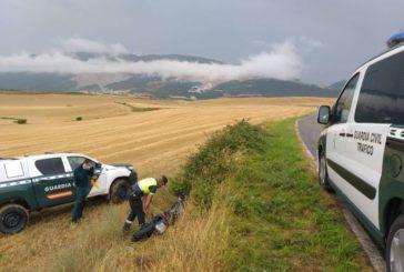 Dos heridos en un accidente de motocicleta cerca de Biurrun (Navarra)