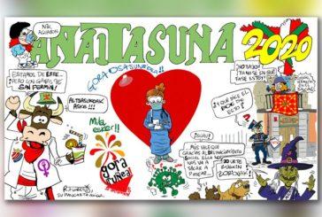 Peña Anaitasuna presenta su pancarta Sanfermines 2020 y se solidariza con el comunicado de Oberena
