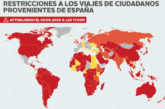 Los países que imponen restricciones a los viajeros provenientes de España