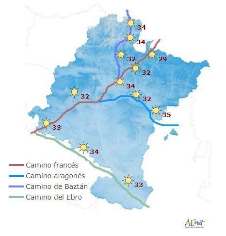Hoy jueves vuelven el riesgo por altas temperaturas en Navarra y gran parte de España