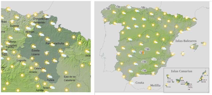 Hoy martes, rachas de viento en Navarra, tormentas y altas temperaturas en gran parte de España