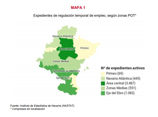 Aumentan en Navarra los ERTEs con 5.638 activos en septiembre, el Sector Servicios el más afectado