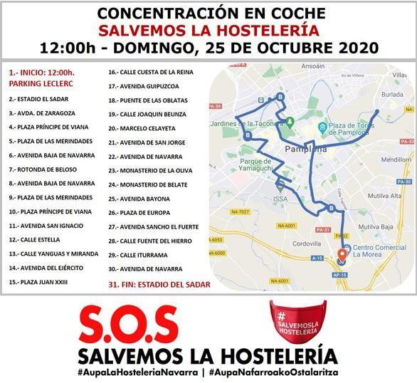 Concentración en coche este domingo en protesta por el cierre de la hostelería navarra