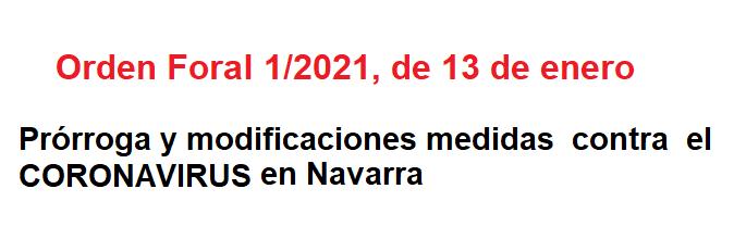 Orden Foral Coronavirus enero 2021