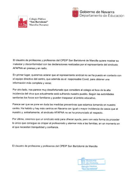 """Los profesores del C.P. de Marcilla muestran su """"malestar"""" con AFAPNA por pedir un cribado"""