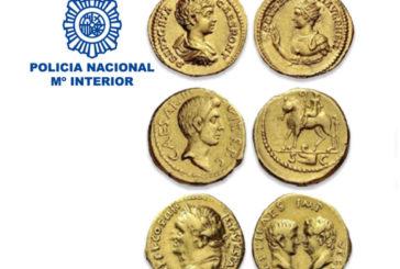 La Policía Nacional recupera tres monedas áureos del Imperio Romano de gran valor histórico y económico