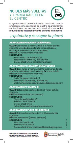 El Ayuntamiento de Pamplona acuerda tarifas reducidas en parkings subterráneos